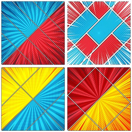 Comic book colorful diagonal backgrounds set with radial rays halftone humor effects. Vector illustration