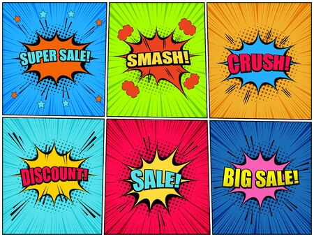 Comic bright backgrounds with colorful speech bubbles clouds light wordings halftone sound and rays effects. Vector illustration