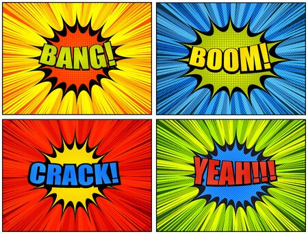 Comic bright colorful backgrounds collection with speech bubbles Bang Boom Crack Yeah wordings dotted halftone radial rays effects. Vector illustration