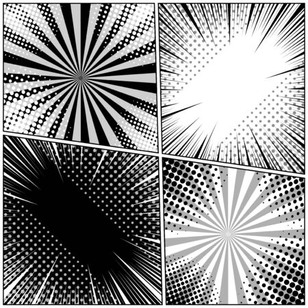 Comic book pages monochrome composition with halftone radial and rays humor effects. Vector illustration