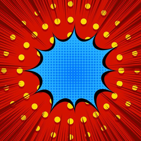 Comic cool light template with blue speech bubble yellow dotted and red rays effects. Vector illustration Stock Illustratie