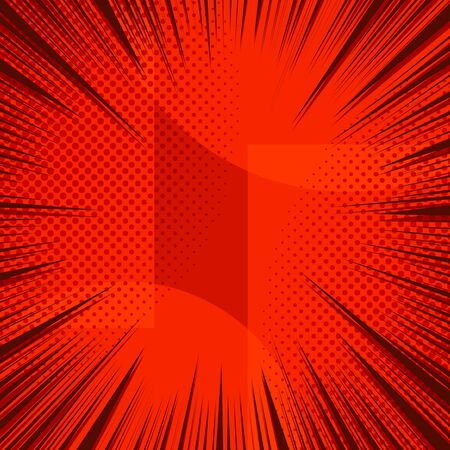 Comic elegant red light background with rays and halftone effects. Vector illustration