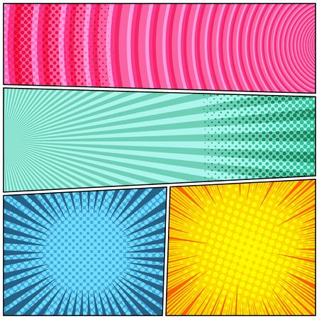 Comic colorful scenes composition with radial circles halftone rays humor effects. Vector illustration