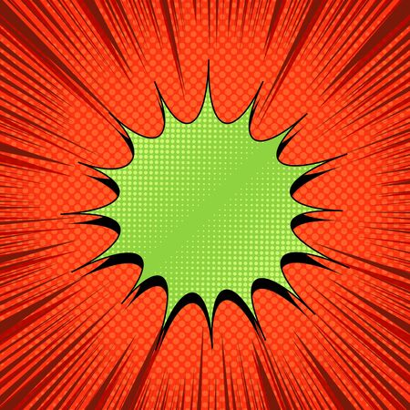 Comic explosive bright template with blank green speech bubble rays and halftone effects on orange background. Vector illustration Stock Illustratie