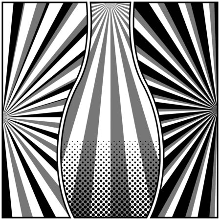 Comic book page concept with radial halftone rays humor effects in monochrome style. Vector illustration