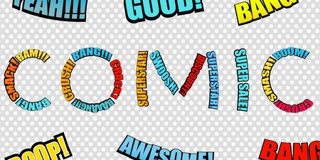 Bright comic inscription consists of colorful wordings on gray dotted background. Vector illustration Illustration