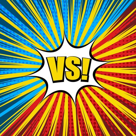 Comic duel light template with yellow VS wording white speech bubble radial rays halftone humor effects red and blue sides. Vector illustration