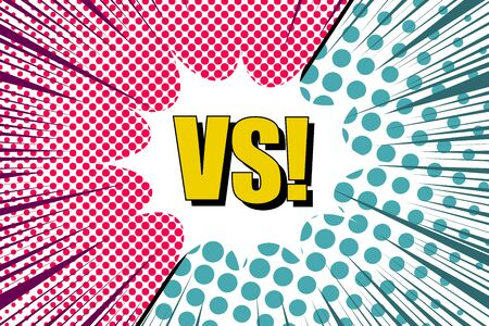 Comic versus bright concept with white speech bubble VS yellow wording halftone rays humor effects in green and pink colors. Vector illustration Foto de archivo - 129176534