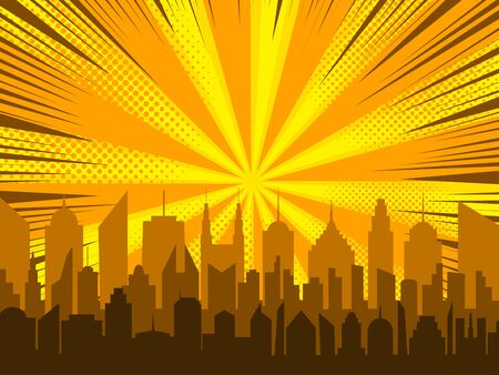 Comic cityscape background with city radial rays halftone effects in orange and yellow colors. Vector illustration  イラスト・ベクター素材