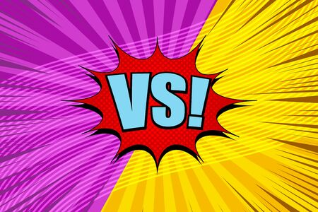 Comic fight elegant concept with red speech bubble VS blue wording wavy lines radial rays humor effects in yellow and purple colors. Vector illustration