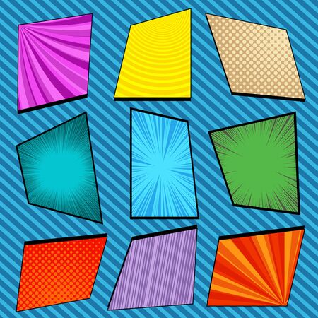Comic colorful bright frames composition with halftone slanted lines radial circles rays humor effects. Vector illustration Illustration