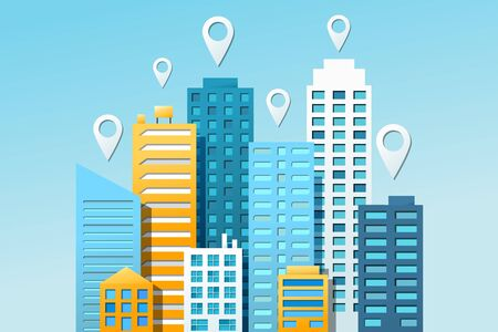 City navigation colorful concept with navigational pins and cityscape on light blue background. Vector illustration