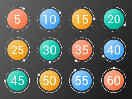 Set of colorful round timers with different time intervals. Isolated vector illustration Illustration