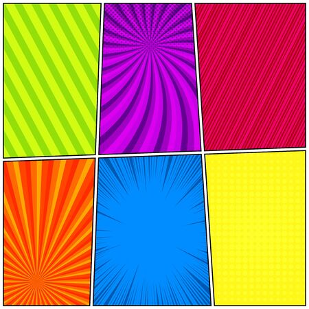 Comic colorful frames with dotted halftone radial slanted lines and rays effects. Vector illustration