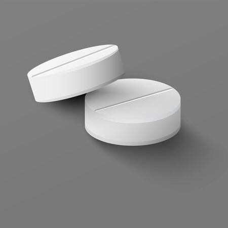 Realistic medical pills on gray background. Isolated vector illustration