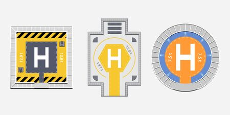 Flat helipads top view collection with heli pads of square circle and hexagon shapes on gray background. Isolated vector illustration