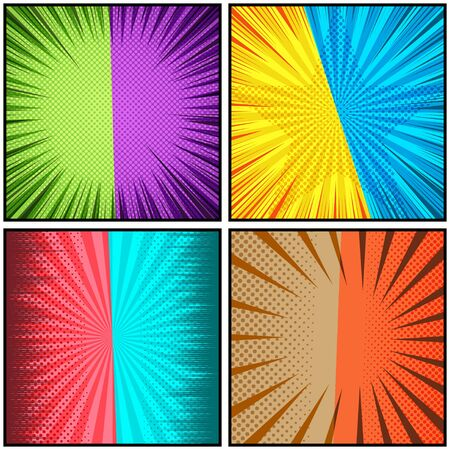 Comic colorful light duel backgrounds composition with radial circles dotted halftone star and rays effects. Vector illustration Stock Illustratie