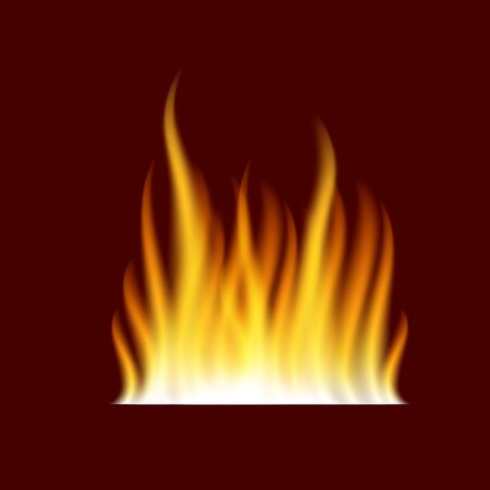 Realistic burning fire flame template on dark red background. Isolated vector illustration
