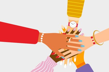 International teamwork and friendship concept with beautiful female hands of various races and nationalities putting their hands together in flat style. Isolated vector illustration Illusztráció