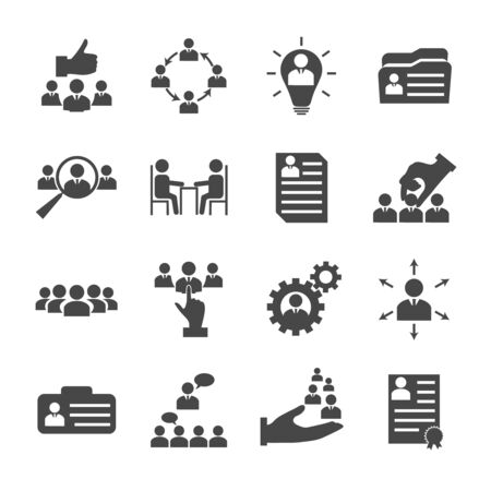 Raccolta di icone di gestione delle risorse umane con elementi di assunzione e reclutamento di uomini d'affari. Illustrazione vettoriale isolato Vettoriali