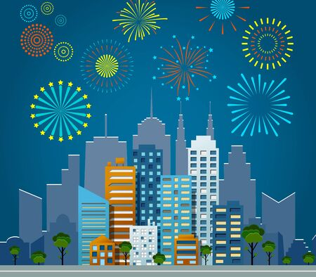 Bright fireworks over night city background