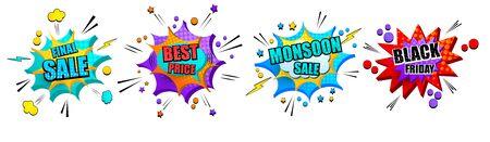 Comic explosive 3d banners set  イラスト・ベクター素材