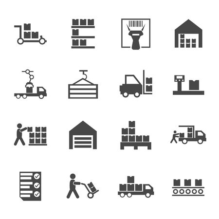 Flat warehouse logistics icons collection