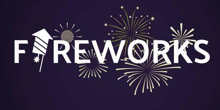 Fireworks festive celebrating template with white inscription and light explosive salutes on dark background. Vector illustration