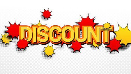 Comic Discount wording advertising concept