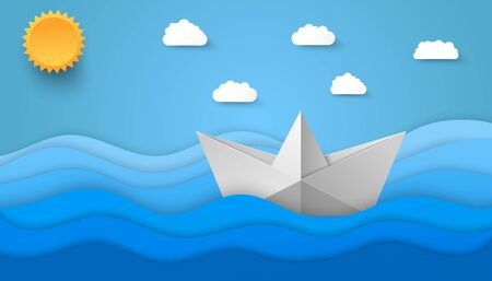 Origami style sea background with paper sun clouds and boat floating on waves. Vector illustration