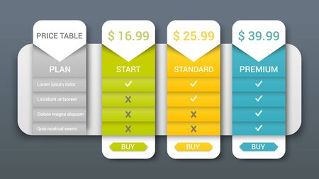 Price table web composition with buy buttons and three business plans with different set of services. Vector illustration