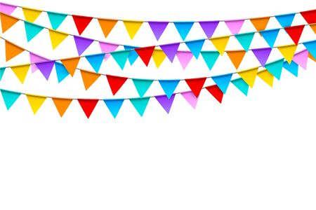 Carnival garlands with colorful flags festive template Vector Illustration