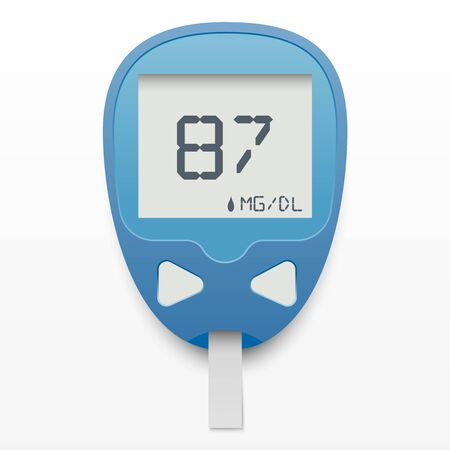 Blood glucose meter concept in realistic style on white background. Isolated vector illustration