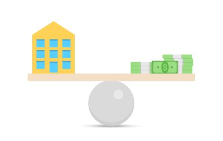 Concept of financial balance with equality of house and money on different sides of seasaw. Isolated vector illustration