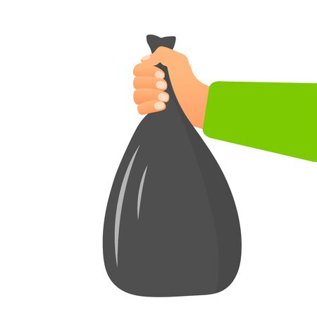 Male hand holding garbage bag concept in flat style on white background. Vector illustration