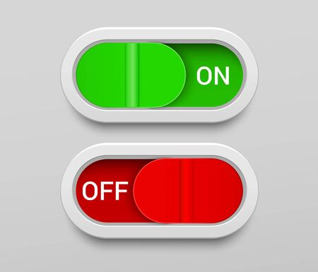 On and Off switch buttons template with green and red toggles in rounded rectangle shapes in realistic style. Isolated vector illustration