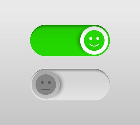 Elegant On and Off switch buttons with smiles on sliders in green and gray colors. Isolated vector illustration