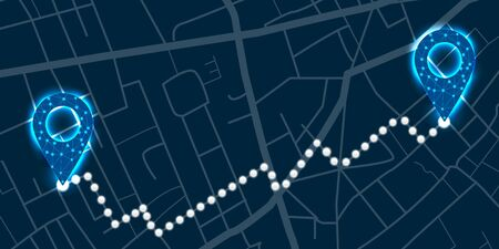 Navigation digital concept with glowing pins and light path between them on city map. Vector illustration Illustration