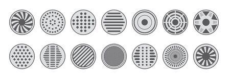 Sewer manhole caps icons monochrome set