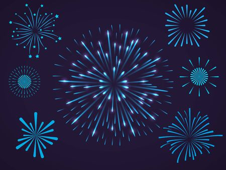Celebrating and festive composition with bursting blue light fireworks and salutes of different shapes. Isolated vector illustration Çizim