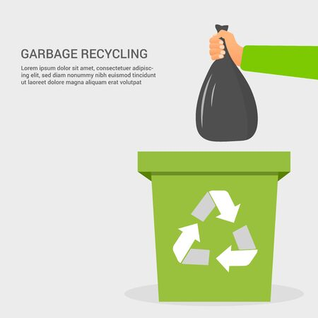 Flat garbage recycling colorful concept