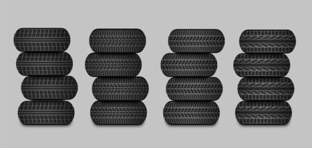 Sets of car tires with different tread patterns. Isolated vector illustration
