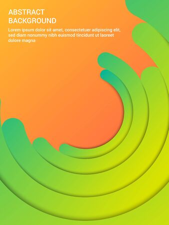 Abstract elegant bright poster with green semicircles on orange background. Vector illustration