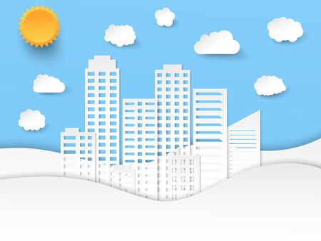 Elegant paper art composition with city waves clouds and sun in origami style. Vector illustration