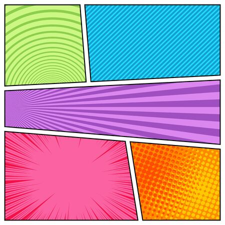 Colorful abstract bright comic composition with dotted halftone circles radial rays slanted lines effects. Vector illustration Ilustração Vetorial