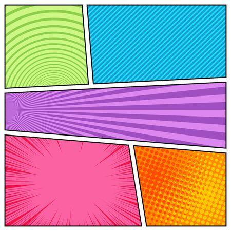 Composizione comica brillante astratta variopinta con effetti di linee inclinate di cerchi di semitono punteggiati di raggi radiali. Illustrazione vettoriale Vettoriali