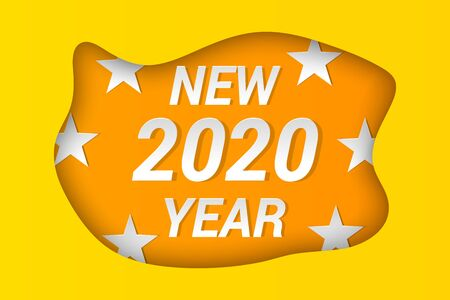 2020 New Year celebrating concept with light inscriptions stars and yellow wavy shape cutting from paper. Vector illustration Ilustrace
