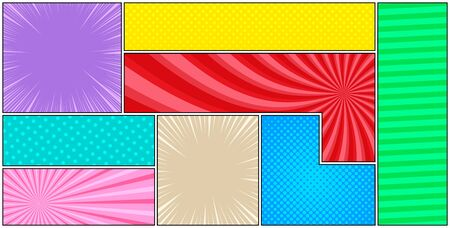 Abstract comic bright composition with colorful frames and humor effects. Vector illustration Ilustrace