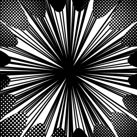 Abstract comic monochrome burst concept with dynamic rays and halftone effects. Vector illustration Ilustrace