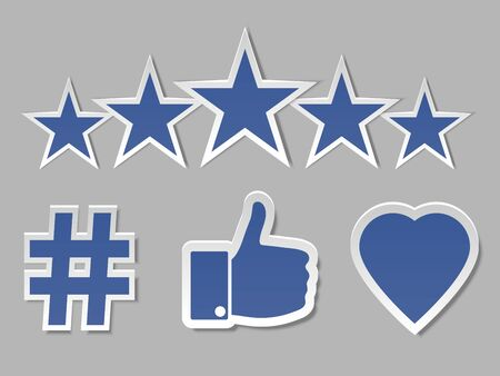 Paper social media networks symbols collection with stars hashtag like hand gesture and heart signs. Isolated vector illustration